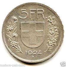 SUISSE REPUBLIQUE 5 FRANCS ARGENT 1924 B TRES RARE !!!