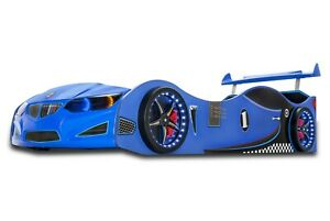 Children's Car Bed in Blue With LED Headlights/Wheelights and sounds GT1F/BMW