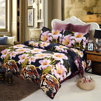 4x 3D Lily Flower Bedding Set King Size Duvet Cover Bed Sheet 2 Pillowcases N7Y2