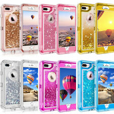 For iPhone Glitter Liquid Defender Case Cover With (Clip Fits Otterbox Defender)