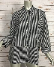 Ralph Lauren Dress Shirt 3A036 Womens 20W Black White Striped Cotton Peplum