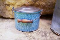 Antique Blue White Speckled Relish Graniteware Berry Bucket Tin Lid Bail Handle
