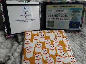 Disabled Blue badge holder wallet cover  LUCKY CAT  hologram safe gift