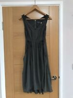 Mint Velvet Eden Utility 2 Piece Dress 8 Khaki Tie Side Zip Back Silk Trim Slip