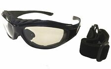 Riding Glasses Motorcycle Padded Sunglasses Driving Black Clear Lens