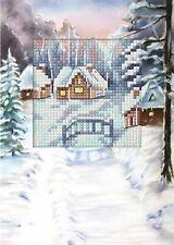 Orchidea Cross Stitch Card Kit - Snowy Bridge and Cottages