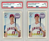2018 Topps Heritage #600 Shohei Ohtani Rookie lot (2 Cards) Both PSA NM-MT 8