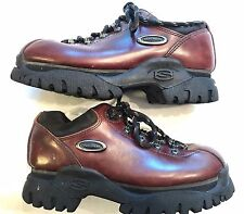 Skechers SN2209 Shoes Womens 7 Oxblood Brown Fashion Leather Lace Up Casual