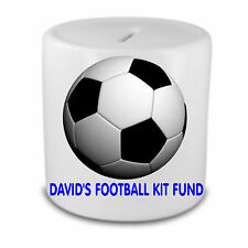 FOOTBALL MONEY BOX PERSONALISED GIFT CHRISTMAS BANK GIFT SPORT CLUB KIT