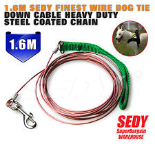 1.6m Dog Leash Pup SEDY Finest Wire Tie Down Cable Heavy Duty Steel Coated Chain