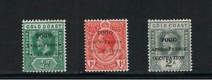 Togo/Anglo-French -1915 Occupation - Various print errors - SG H34/5/6 Mint H.