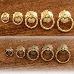 Cabinet Knobs Antique Brass Drawer Kitchen Cupboard Door Drop Ring Knob Pulls