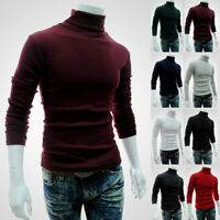 Mens Winter Warm Knitted Roll Turtle Neck Pullover Jumper Tops Slim Fit Sweater