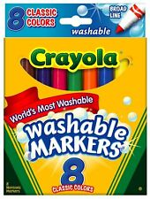 Case of 24 Boxes (8ct per Box) Crayola Washable Markers, Conical Tip, Assorted