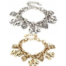 Punk Elephant Bangle Bracelet Love Heart Chain Beads Charm Pendant Animal Gifts