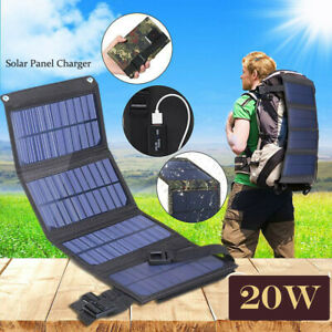 20W USB Solar Panel Folding Portable Power Charger Camping Travel Phone Charger