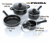 7PC Cookware Set Steel Kitchen Pots and Pans set CARBON NONSTICK GLASS LID