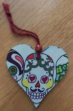 Handcrafted candy skull hanging heart decoration gift goth green moustache