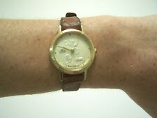 Vintage Gold Face Lorus Quarts Mickey Mouse Women's Watch Leather Band