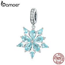 Bamoer nuevo S925 plata encanto elegante Copo De Nieve Colgante con azul de circonio cúbico Fit pulsera