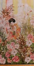 """23.5"""" X 44"""" Panel Peony Peonies Floral Flowers Asian Lady Cotton Fabric D773.23"""