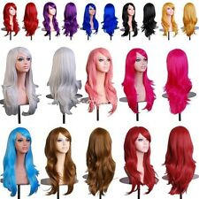 Womens Brown Black Grey Cosplay Wigs Long Wavy Curly Synthetic Natural Hair #FE