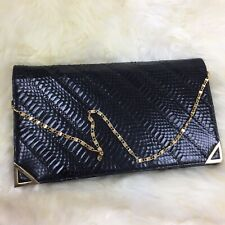 Rare Vintage Mello Nary Black Chain Clutch Leather