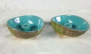 Pr Vtg Mid Century Italian Pottery KB Taper Candle Holders Bitossi Seta Style