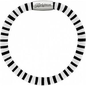 NWT Brighton WOODSTOCK STELLA STRIPE Black Single Leather Bracelet S/M MSRP $40