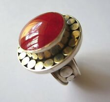 RED CORAL  STERLING SILVER  COMTEMPORALY RING  SIZE P 1/2   NEW