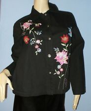 SIZE S WOMEN'S BLACK COTTON, EMBROIDERED DENIM JEAN JACKET- WHITE STAG NWOT