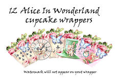 12  cupcake wrappers party Alice in wonderland wrappers party decoration