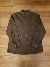 Louis Vuitton Brown Textured 100% Cotton Dress Shirt Made in France Size Large