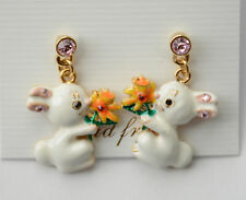 Easter Bunny w Yellow Daffodil Flower Post Earrings / Gold-tone w Crystal Chips