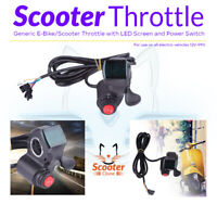 Electric Scooter E-Bike Universal Throttle with Power Switch and LED Display 12-