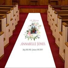 Personalised Funeral Aisle Runner, Memorial, Remembrance and Celebration