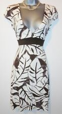 Jane Norman Brown Leaf Print Stretch Jersey Evening Casual Day Dress Size 12