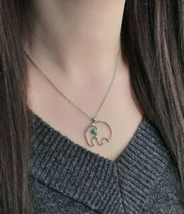 Turquoise Elephant,Sterling Silver 925 , Pendant, Charm Necklace Jewellery