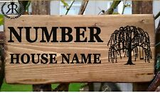 Willow Tree House Door Sign Plaque Name Plate Personalise Road Number Wall Gate