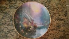 Thomas Kinkade Falbrooke Cottage Plate from the Enchanted Cottages Collection