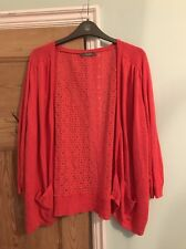 South Dark Coral Pink Cardigan Crochet Back 3/4 Length Sleeves Plus Size 24