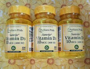 Puritan's Pride 3 Bottle 100 VITAMIN D3 Pills 10 MCG 400IU Tablet Immune 01/2024
