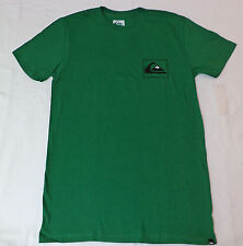 """NWT Quiksilver S/S Green Slim Fit T-Shirt  """"Quiksilver"""" on Back   Small   F27"""