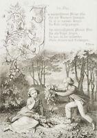 """E.NEUREUTHER(*1806) zu Heines Gedicht """"Im wunderschönen Monat Mai"""", 1852, Rad"""