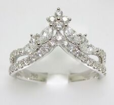 18k WHITE GOLD DIAMOND CROWN TIARA RING WITH MARQUISE AND ROUND CUT DIAMONDS