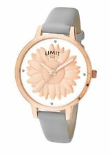 Ladies Limit Secret Garden 3D Rose Gold Flower White Dial Watch Grey Strap 6281