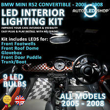 BMW MINI R52 CONVERTIBLE LED INTERIOR COMPLETE FULL KIT SET BULB XENON WHITE JCW