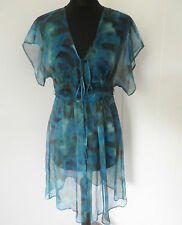 COPPERNOB Blue Brushstroke Print Silk Tunic/Dress Size 8-12 *BNWT* LTD EDITION