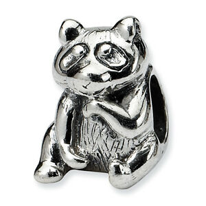 Raccoon Bead .925 Sterling Silver Antique Finish Reflection Beads