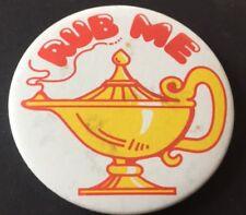 Vintage Badge Aladdin Rub Me Magic Lamp Pantomime Retro 5.5cm Pin B019